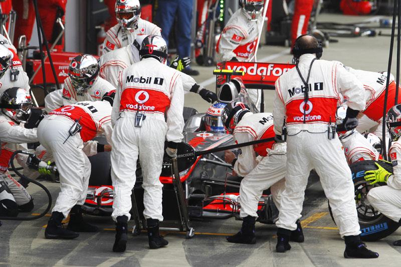 Pit stop de Jenson Button no GP da Grã-Bretanha de F-1