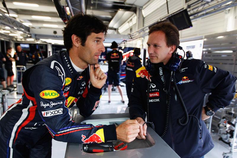 Mark Webber e Christian Horner: papo rápido depois do GP britânico