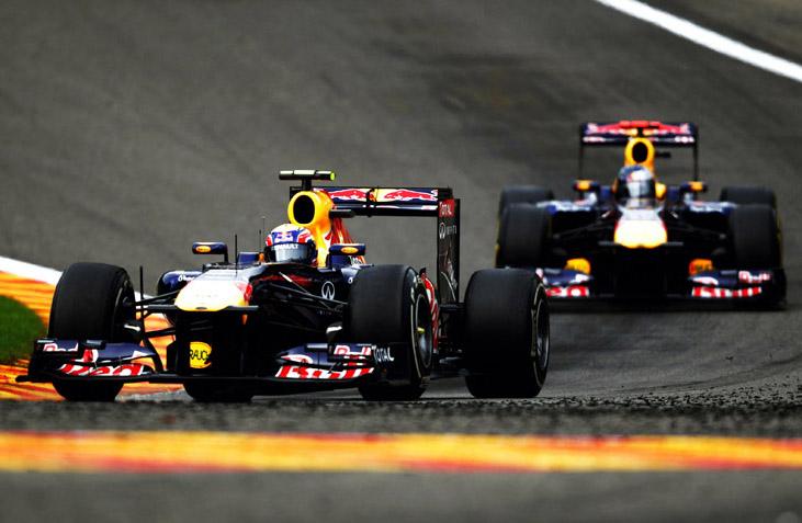 Vettel e Webber durante o GP da Bélgica