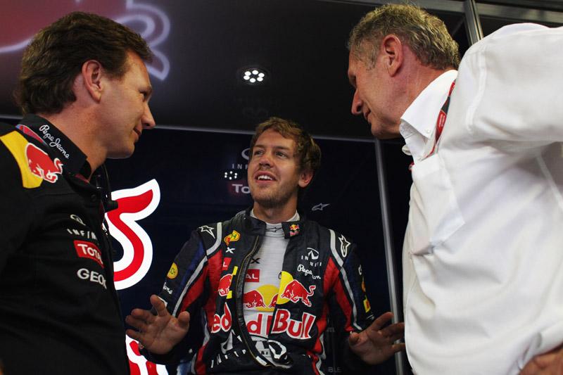 Horner com Vettel e Helmut Marko