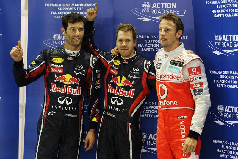 Webber, Vettel e Button em Cingapura