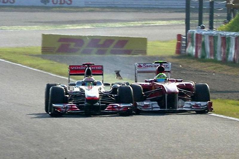 Toque entre Hamilton e Massa