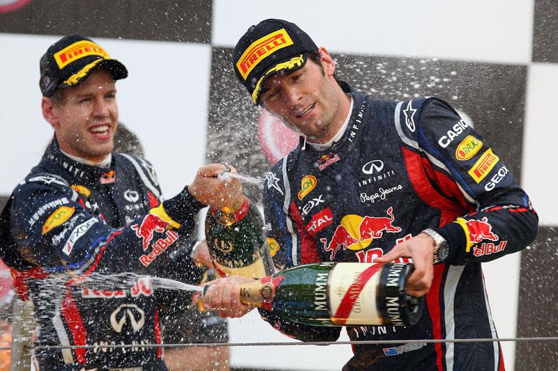 Webber no pódio da Coreia com Vettel