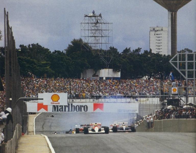 Largada do GP do Brasil de 1991, primeira duas duas provas vencidas por Ayrton Senna no País