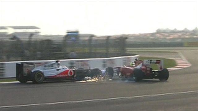 Hamilton e Massa se encontra na pista indiana