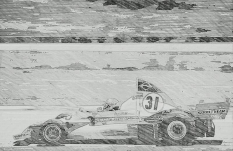 Arte de Ingo Hoffmann com o carro que correu em 1976 (Totalrace)