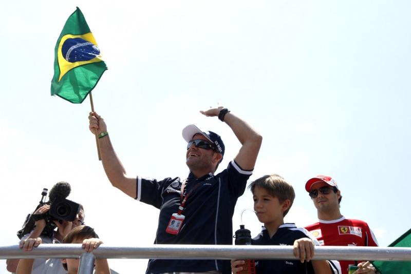 Barrichello, durante Desfile dos Pilotos de 2010