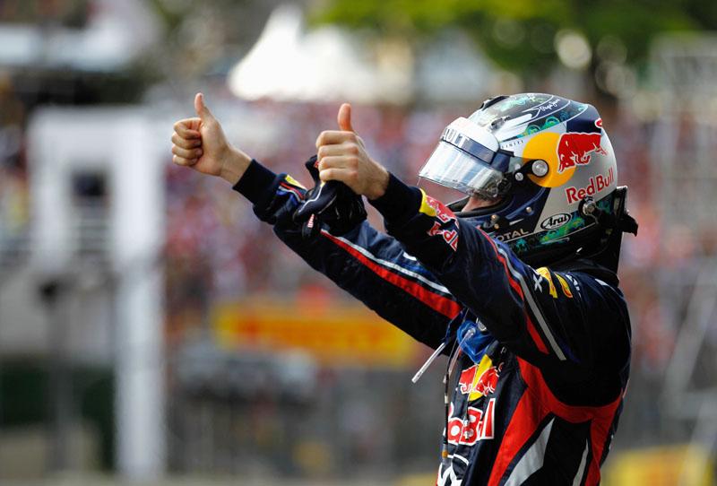 Vettel comemora no Brasil