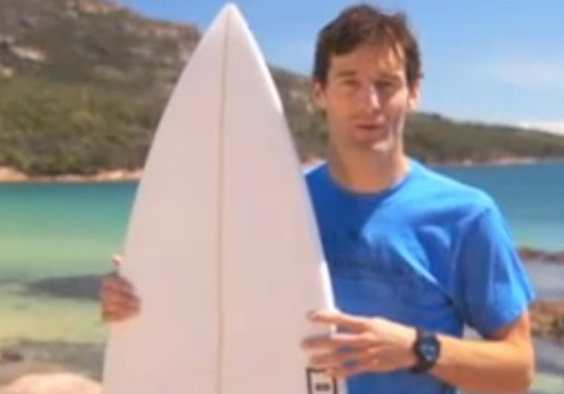 Mark Webber e sua prancha