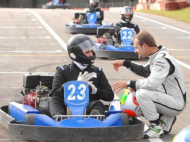 Barrichello durante evento de kart