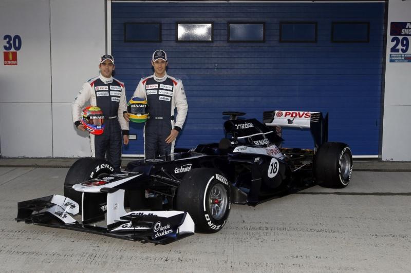 Bruno Senna e Pastor Maldonado durante apresentação da Williams