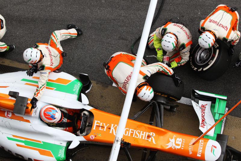 A Force India aproveitou para treinar pit stops