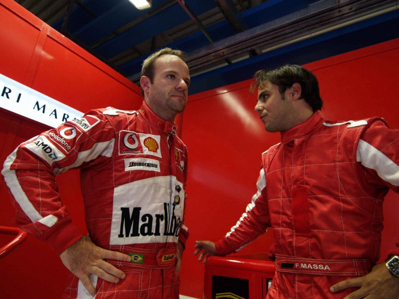 Rubens e Felipe trabalharam juntos na Ferrari em 2003