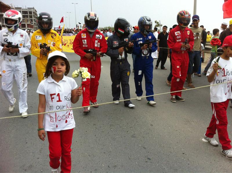 Imagem divulgada via twitter de protesto no Bahrein