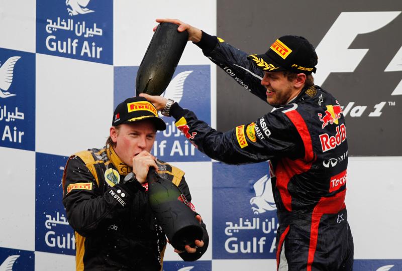 Raikkonen e Vettel no pódio