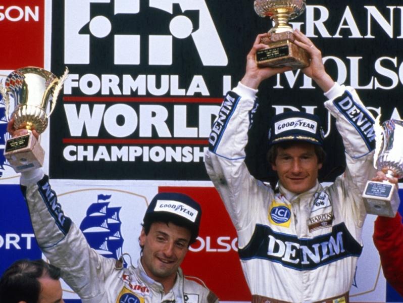 Boutsen e Patrese comemoram dobradinha da Williams em 89