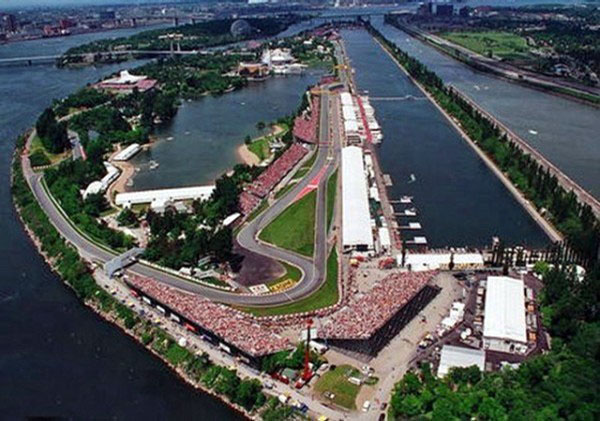 Vista aérea do belo circuito Gilles Villeneuve