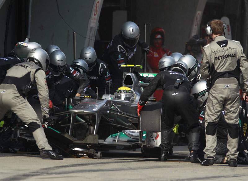 Mercedes tem o trabalho de box mais rápido do grid