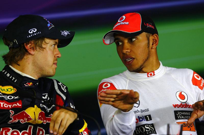 Vettel e Hamilton na entrevista após o GP da China