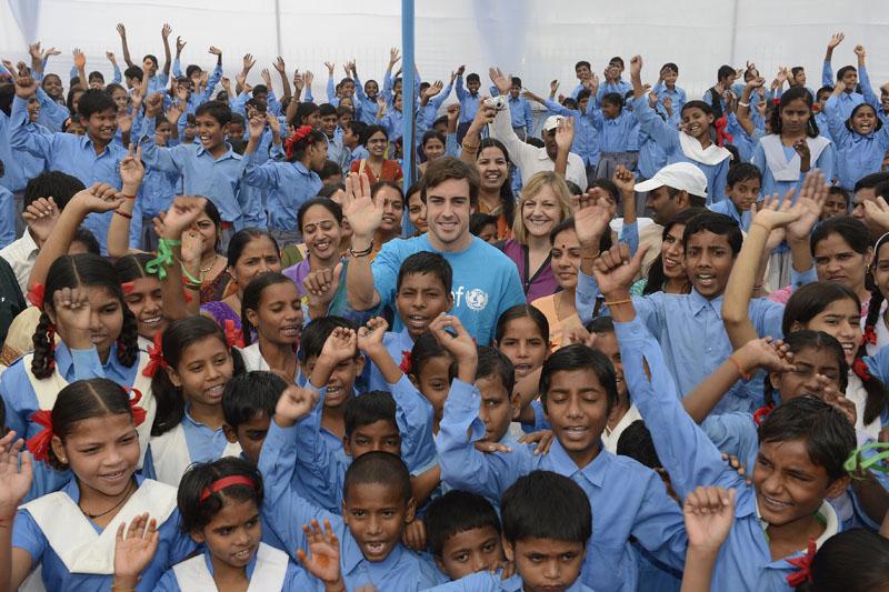 Alonso participou de evento da Unicef hoje em Nova Déli
