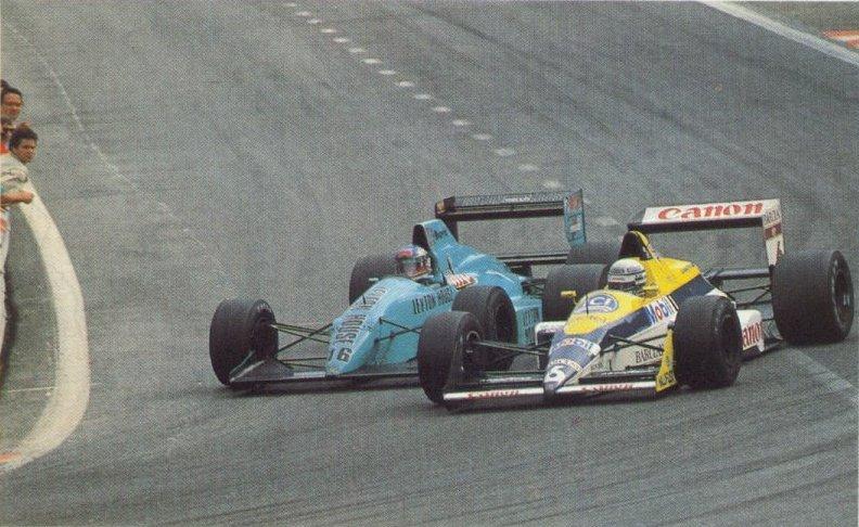 Ivan Capelli disputa posição com Riccardo Patrese no GP da Bélgica de 1988