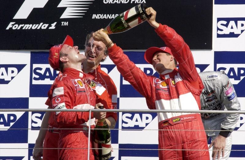 Barrichello e Schumacher no GP dos EUA em 2002