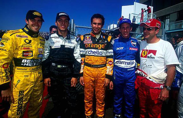 Zonta, Tarso, Bernoldi, Burti e Barrichello, na única foto do encontro