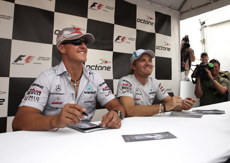 Rosberg e Schumacher ficaram felizes com o rendimento do carro