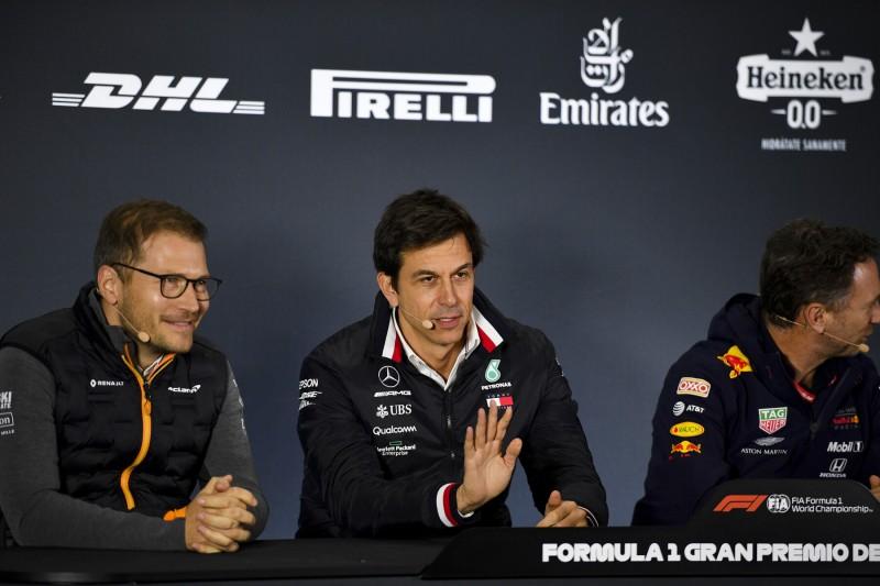 Andreas Seidl Toto Wolff Christian Horner CIP CIP Moto3McLaren McLaren F1 Team F1Red Bull Aston Martin Red Bull Racing F1 ~Andreas Seidl, Toto Wolff und Christian Horner ~