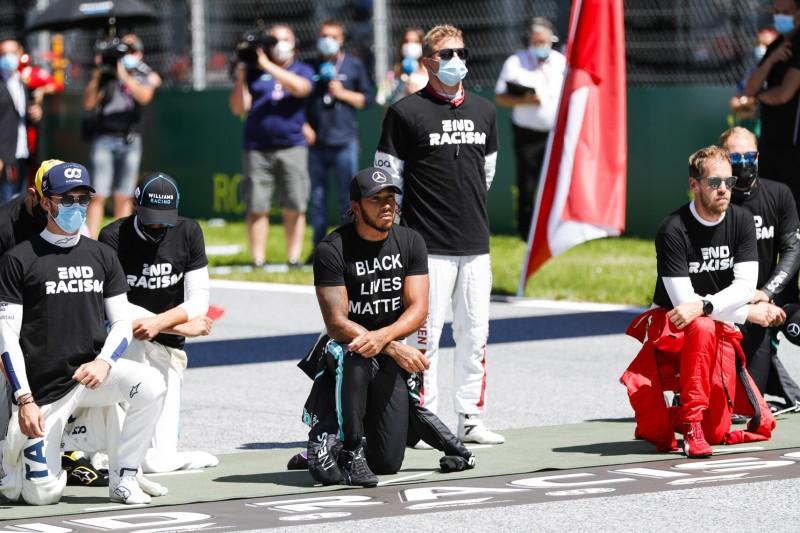 Nicholas Latifi, George Russell, Lewis Hamilton, Sebastian Vettel
