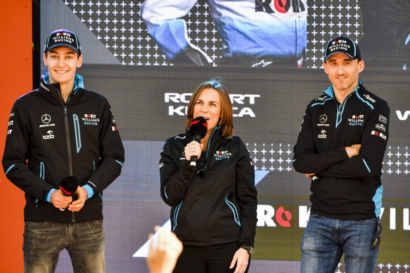 George Russell Claire Williams Robert Kubica Williams ROKiT Williams Racing F1CIP CIP Moto3 ~George Russell (Williams), Claire Williams und Robert Kubica (Williams) ~