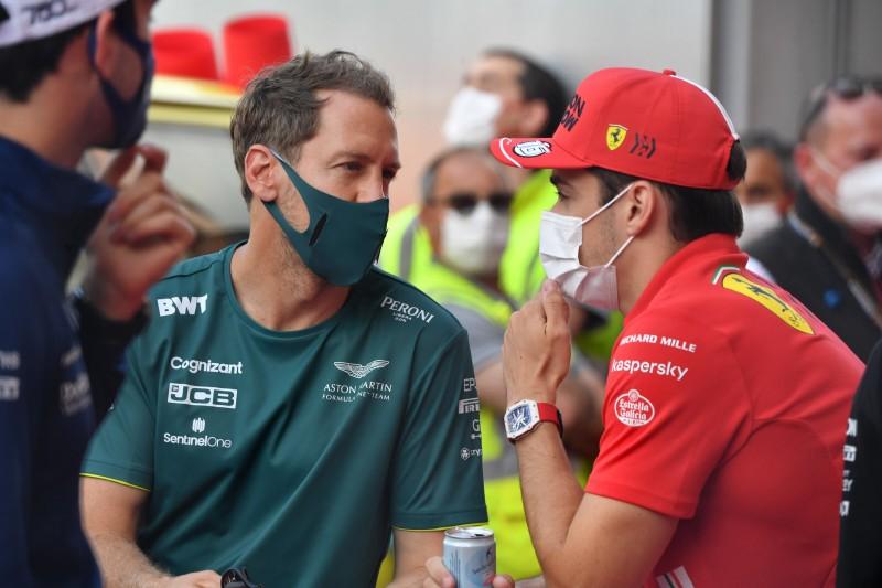 Sebastian Vettel Charles Leclerc Ferrari Ferrari F1Aston Martin Aston Martin F1 ~Sebastian Vettel (Aston Martin) und Charles Leclerc (Ferrari) ~