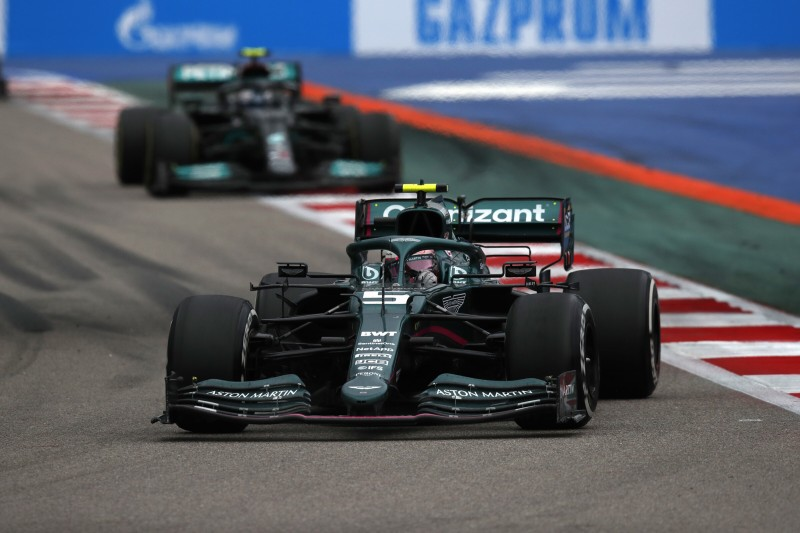 Sebastian Vettel Valtteri Bottas Aston Martin Aston Martin F1 ~Sebastian Vettel (Aston Martin) und Valtteri Bottas (Mercedes) ~