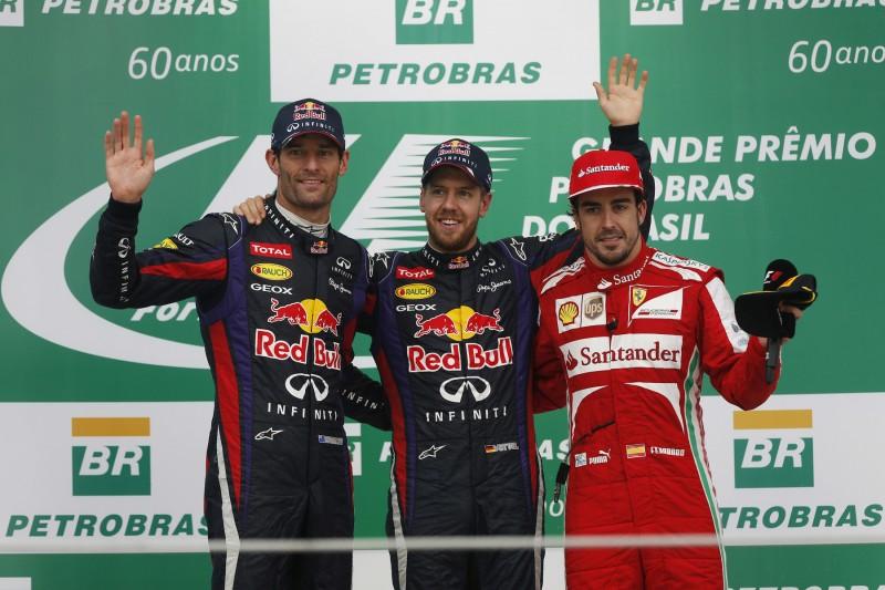 Sebastian Vettel Mark Webber Fernando Alonso Ferrari Ferrari F1Red Bull Red Bull F1 ~Sebastian Vettel (Ferrari), Mark Webber und Fernando Alonso ~