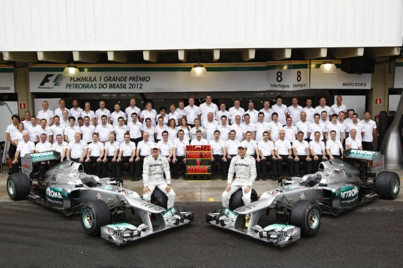 Michael Schumacher Ross Brawn (Mercedes-Teamchef) Nico Rosberg Mercedes Mercedes GP Petronas F1 Team F1 ~Michael Schumacher (Mercedes), Ross Brawn (Mercedes-Teamchef) und Nico Rosberg (Mercedes) ~