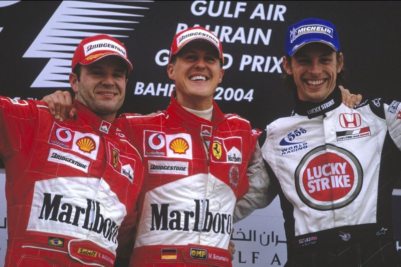 Michael Schumacher Rubens Barrichello Jenson Button F1 ~Michael Schumacher, Rubens Barrichello und Jenson Button in Sachir 2004~