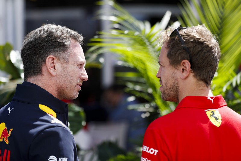 Christian Horner Sebastian Vettel Ferrari Scuderia Ferrari Mission Winnow F1CIP CIP Moto3Red Bull Aston Martin Red Bull Racing F1 ~Christian Horner und Sebastian Vettel (Ferrari) ~