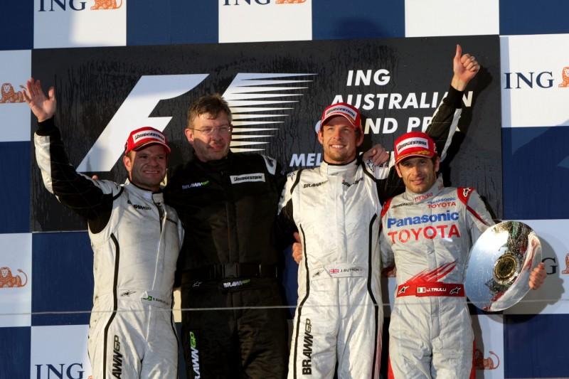 Rubens Barrichello Ross Brawn Jenson Button Jarno Trulli CIP CIP Moto3 ~Rubens Barrichello, Ross Brawn, Jenson Button und Jarno Trulli ~