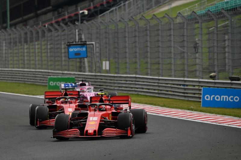 Charles Leclerc Sebastian Vettel Sergio Perez Ferrari Ferrari F1Racing Point Racing Point F1 ~Charles Leclerc (Ferrari), Sebastian Vettel (Ferrari) und Sergio Perez (Racing Point) ~