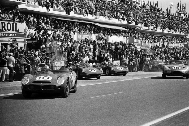Start zu den 24h Le Mans 1963: Roger Penske und Pedro Rodriguez im Ferrari 330 TRI/LM