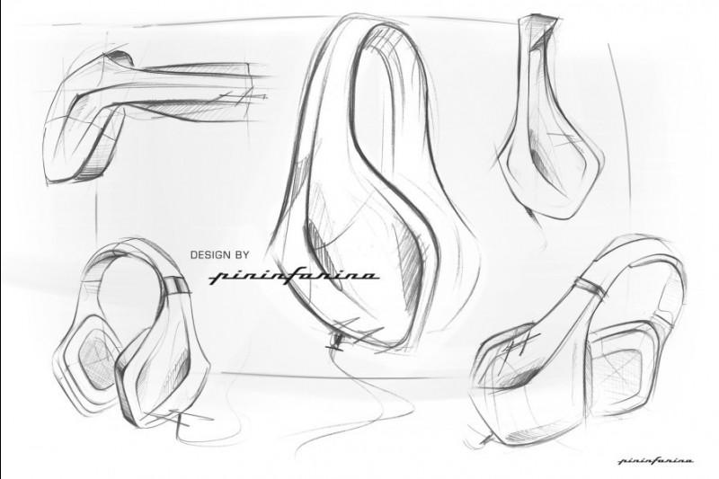 Designskizzen von Pininfarina zum Magnat LZR 980 Kopfhörer