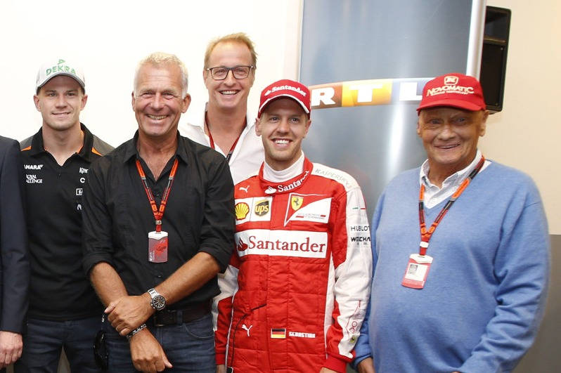 Bernie Ecclestone, Nico Rosberg, Nico Hülkenberg, Sebastian Vettel