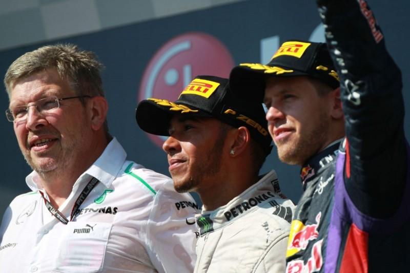 Ross Brawn, Lewis Hamilton, Sebastian Vettel