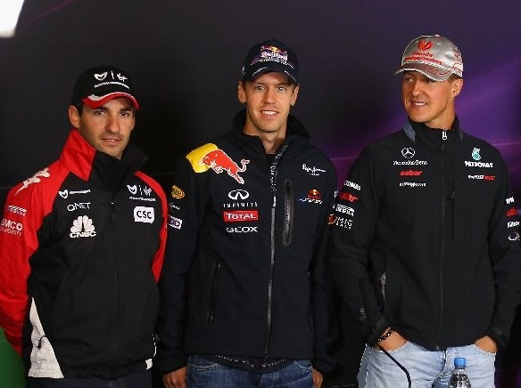 Timo Glock, Sebastian Vettel, Michael Schumacher, Nick Heidfeld, Adrian Sutil, Nico Rosberg