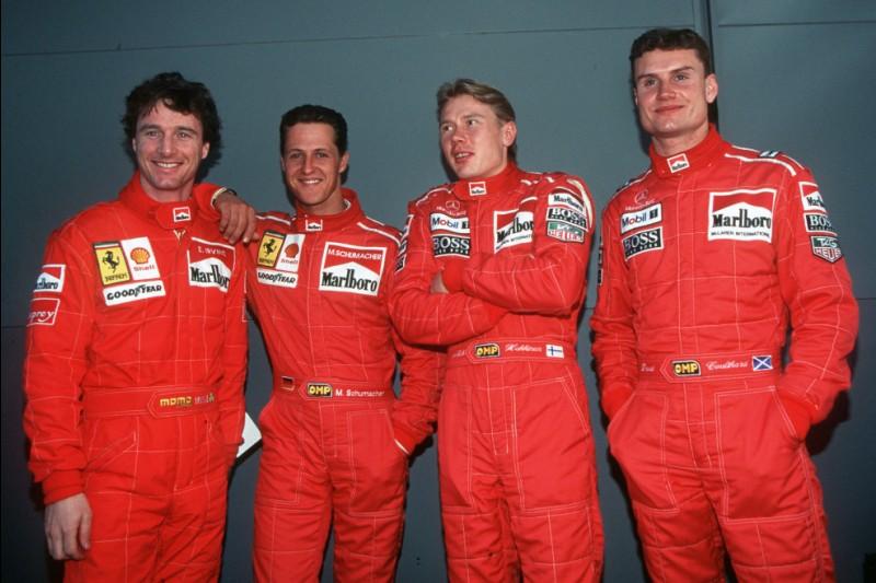 Eddie Irvine, Michael Schumacher, Mika Häkkinen, David Coulthard