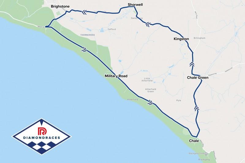 Streckenlayout für die Diamond-Races auf der Isle of Wight
