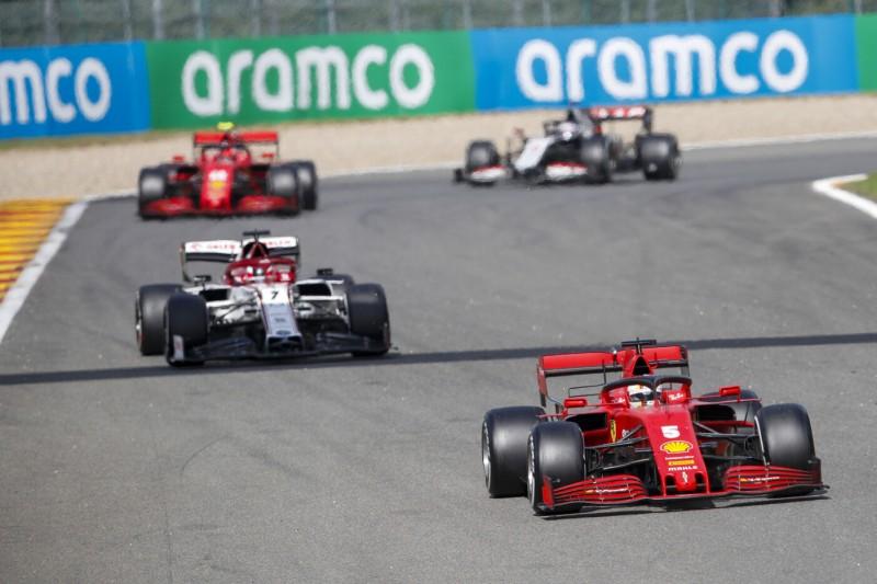 Sebastian Vettel, Kimi Räikkönen, Charles Leclerc, Romain Grosjean