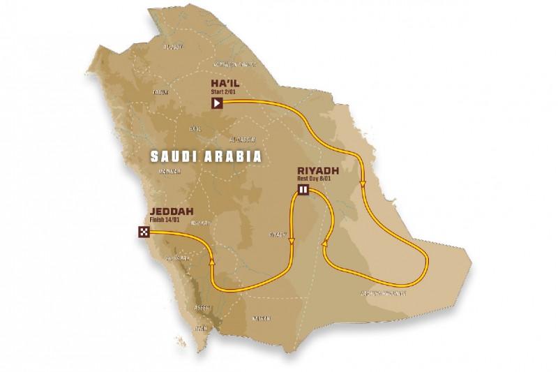 Route für die Rallye Dakar 2022 in Saudi-Arabien