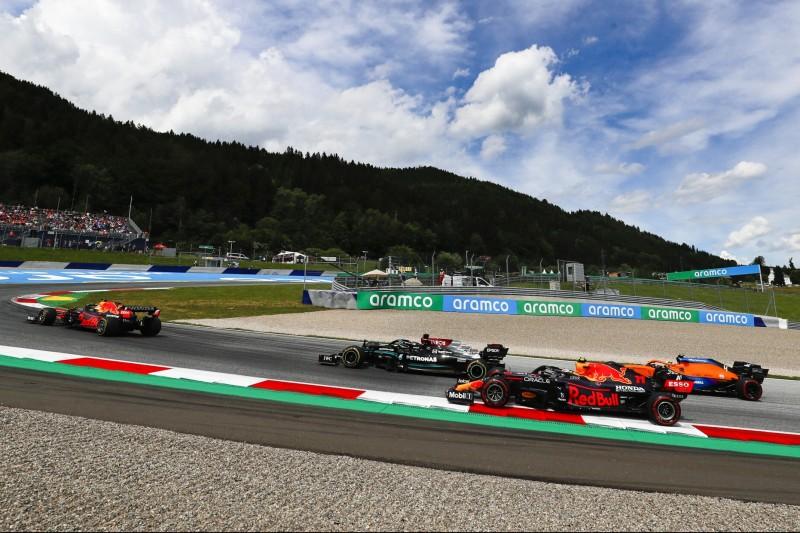 Max Verstappen, Lewis Hamilton, Sergio Perez, Lando Norris, Valtteri Bottas im Steiermark-Grand-Prix 2021 in Spielberg