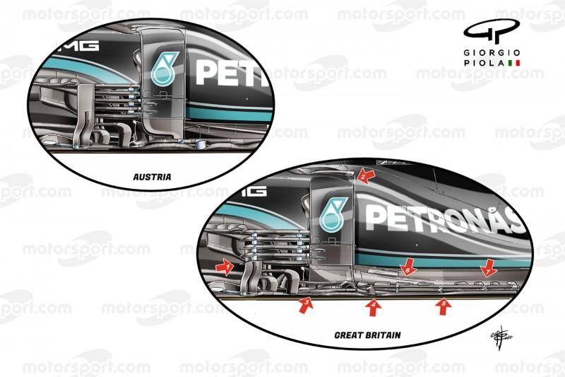Grafische Darstellung des Mercedes-Upgrades im Unterboden-Bereich beim Formel-1-Rennen in Silverstone (Großbritannien) im Vergleich mit der Version aus Österreich